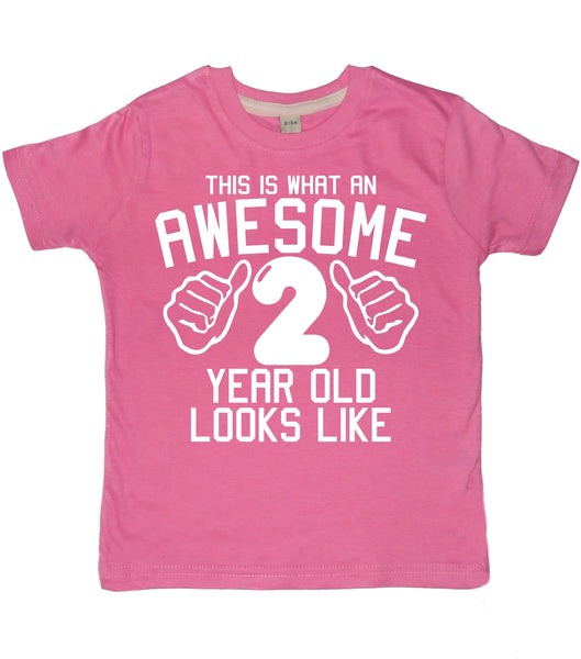 This is what an awesome 2 year old looks like Birthday T-shirt