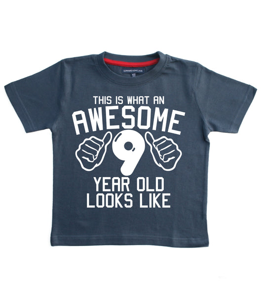 This What an Awesome 9 Year Old Looks Like Children's T Shirt