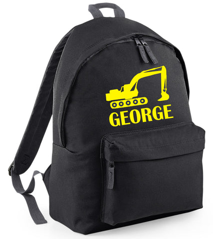 Personalised Digger Backpack with Yellow Print