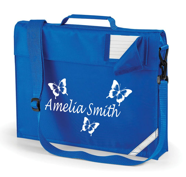 Personalised Butterfly Book bag with Strap