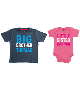 Personalised Big Brother T-Shirt and Little Sister Bodysuit Set