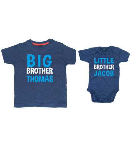 Personalised Big Brother T-Shirt and Little Brother Bodysuit Set