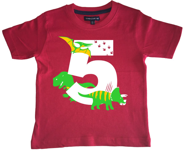 Red Dino Birthday Bash Children's T-Shirt with White, Green and Yellow Print