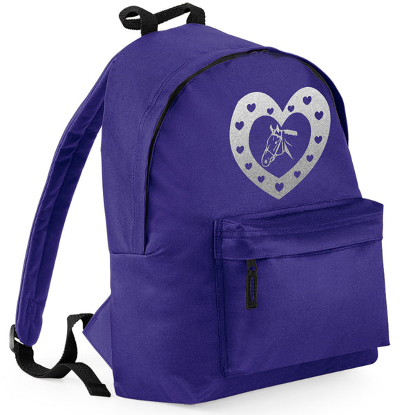 Horse & Hearts Backpack with Glitter Print