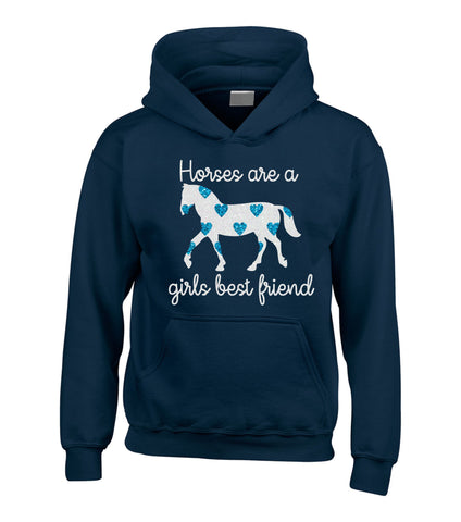 Horses Are A Girls Best Friend (D2) Hoodie with Sparkling Blue Hearts!