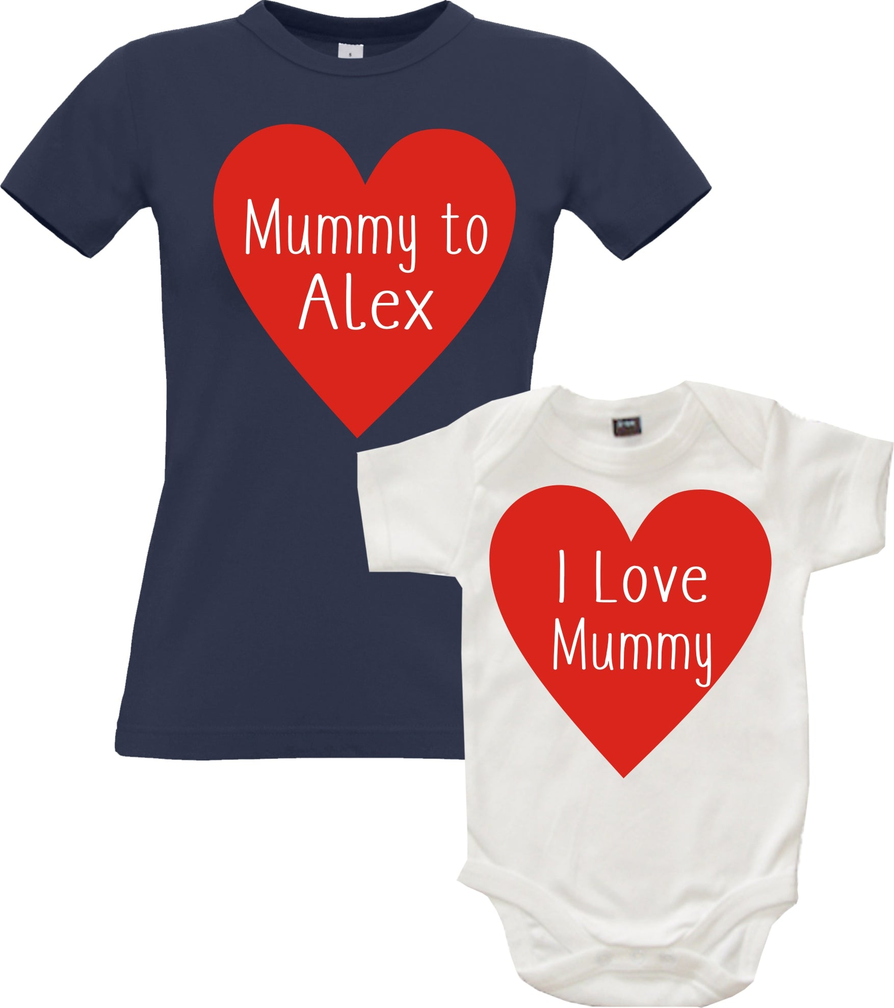 Personalised 'Mummy To...' Fitted T-Shirt and 'I Love Mummy' Baby Bodysuit Set