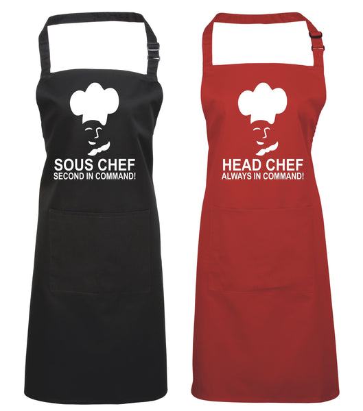 Head Chef & Sous Chef Matching Cooking & Baking Apron Gift Set