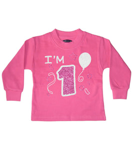 I'm 1 Bubblegum Pink Children's Birthday Sweatshirt 1-2 Years