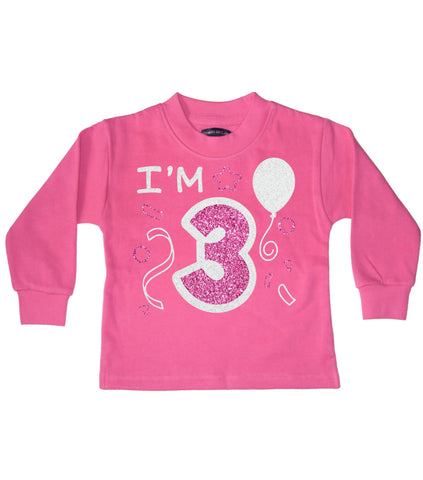 I'm 3 Bubblegum Pink Children's Birthday Sweatshirt