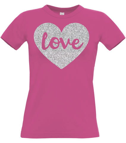 Love Fitted Women's T-Shirt with sparkling silver print