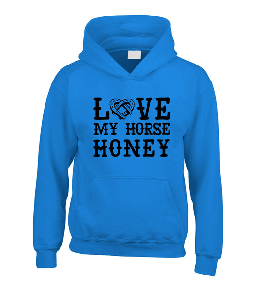 Personalised Love My Horse Hoodie with Horses Name