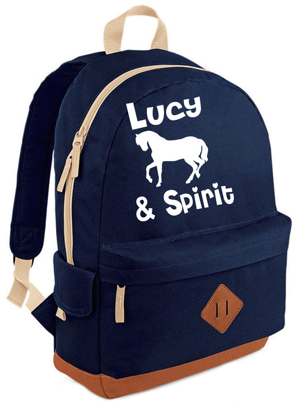Personalised Named Horse and Rider Heritage Backpack