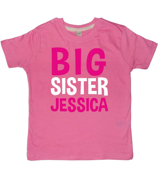 Personalised Big Sister T-Shirt and Little Sister Bodysuit Set