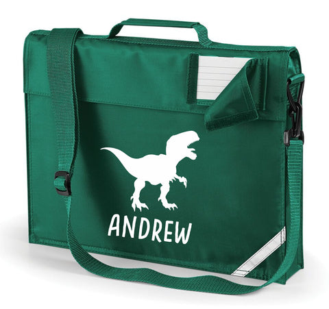 Personalised T Rex Book Bag with Strap