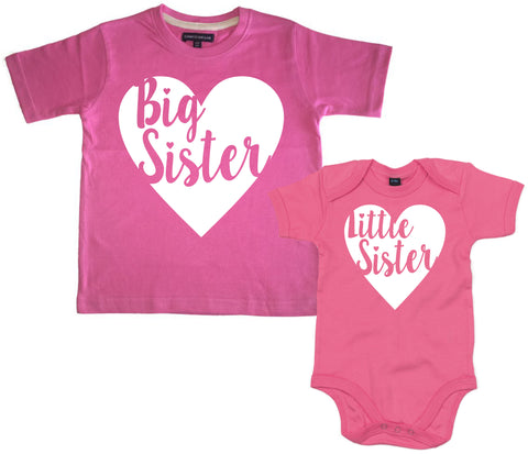 Big Sister and Little Sister Heart T Shirt and Baby Bodysuit Set