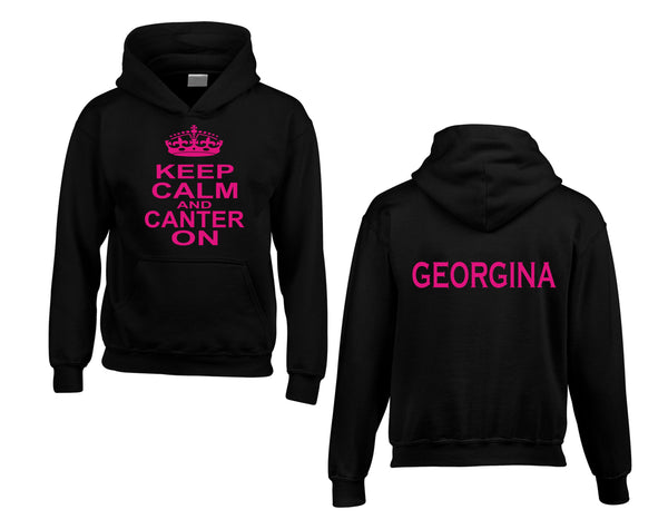 Personalised Keep Calm and Canter On Hoodie with Name on the Back