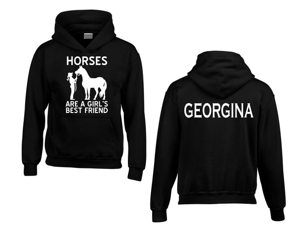 Personalised Horses are a Girls Best Friend Hoodie with Name on The Back
