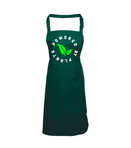 Powered By Plants Apron with White and Green Print
