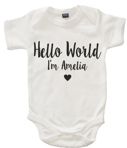 Personalised 'Hello World I'm...' Baby Bodysuit