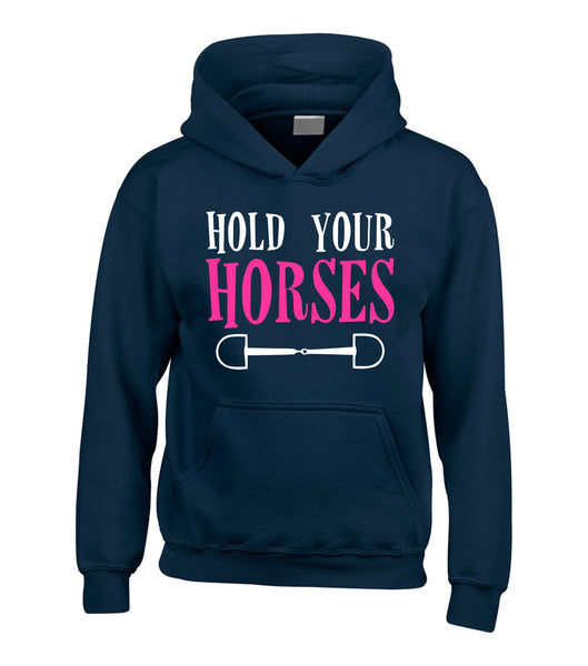 Hold Your Horses Hoodie with White and Pink/Black Print