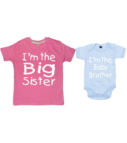 I'm the Big Sister T-shirt and I'm the Baby Brother Bodysuit Set