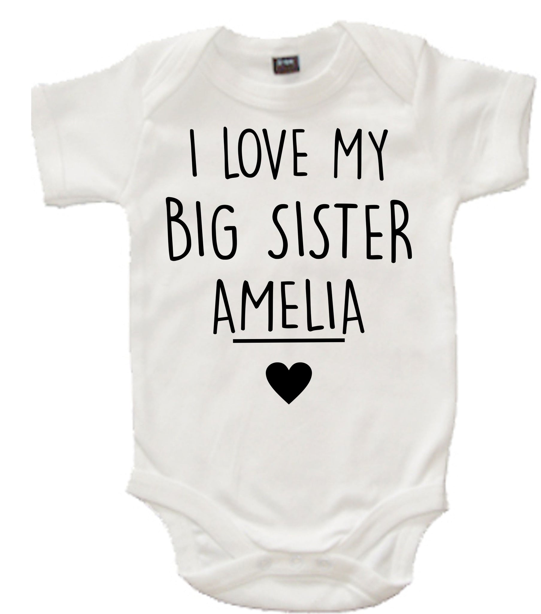 Personalised 'I Love My Big Sister' White Bodysuit