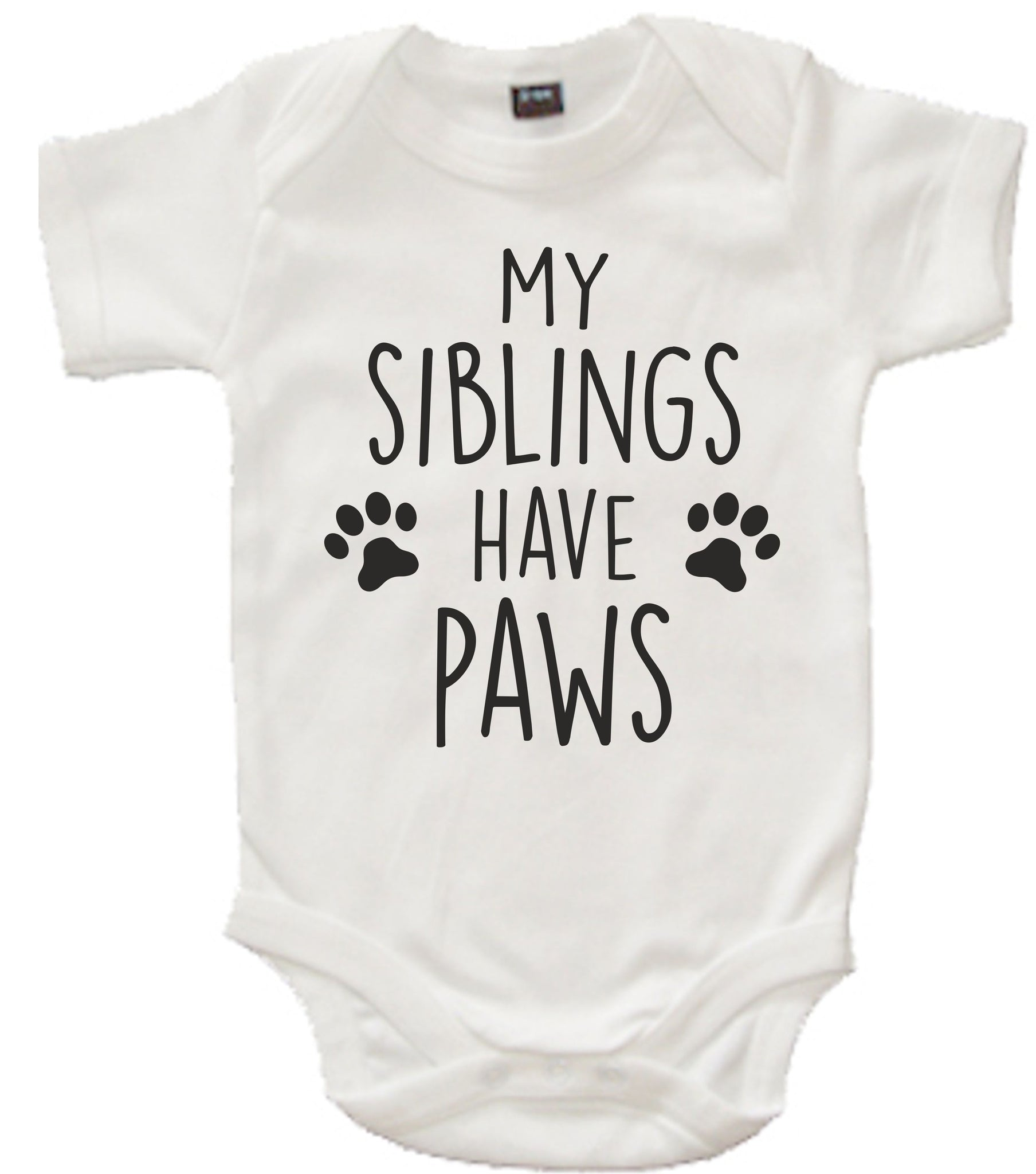 My Siblings Have Paws'  White Baby Bodysuit Romper