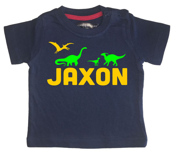 Personalised Name with Dinosaurs On with Green and Yellow Print