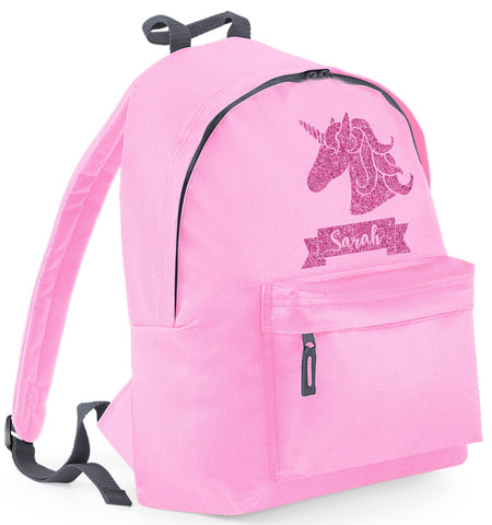 Personalised Unicorn (Design 2) Backpack with Glitter Print