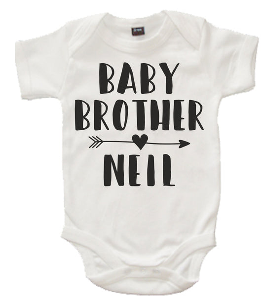 Personalised Big Brother Navy T Shirt and Little Brother White Bodysuit Arrow Set