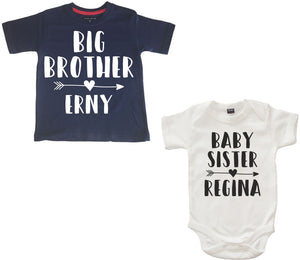 Personalised Big Brother Navy T Shirt and Baby Sister White Bodysuit Arrow Set