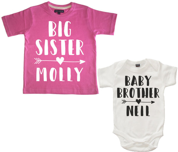 Personalised Big Sister Bubblegum Pink T Shirt and Little Brother White Bodysuit Arrow Set