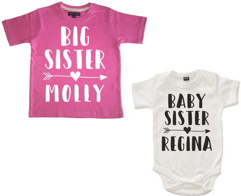 Personalised Big Sister Bubblegum Pink T-Shirt and Baby Sister White Baby Bodysuit Set