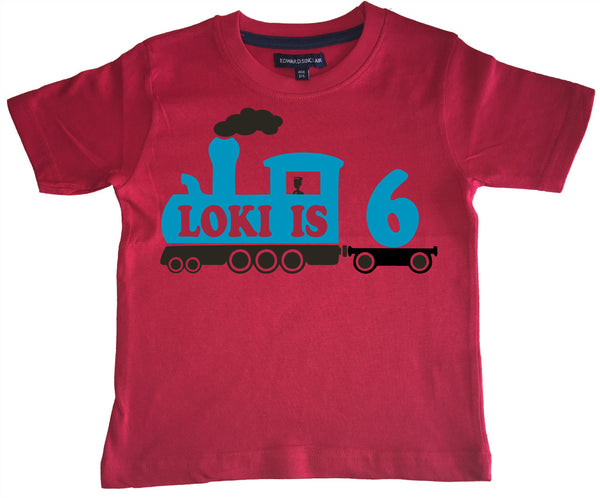 Personalised Train Children's Birthday T Shirt with Name and Age
