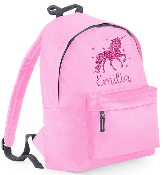 Personalised Unicorn with Stars Backpack with Silver Glitter Print