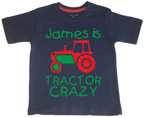 Personalised Tractor Crazy Children's T-shirt