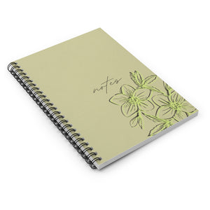 Minimal Floral Kraft Inspired Spiral Notebook in Lime