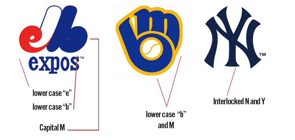 Expos, Brewers, and Yankee's Logos