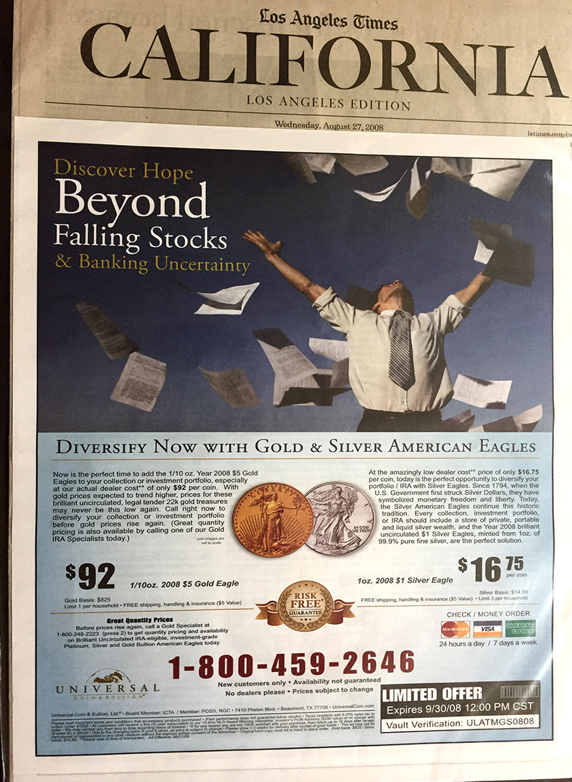 Universal Coin Group Los Angeles Times Ad