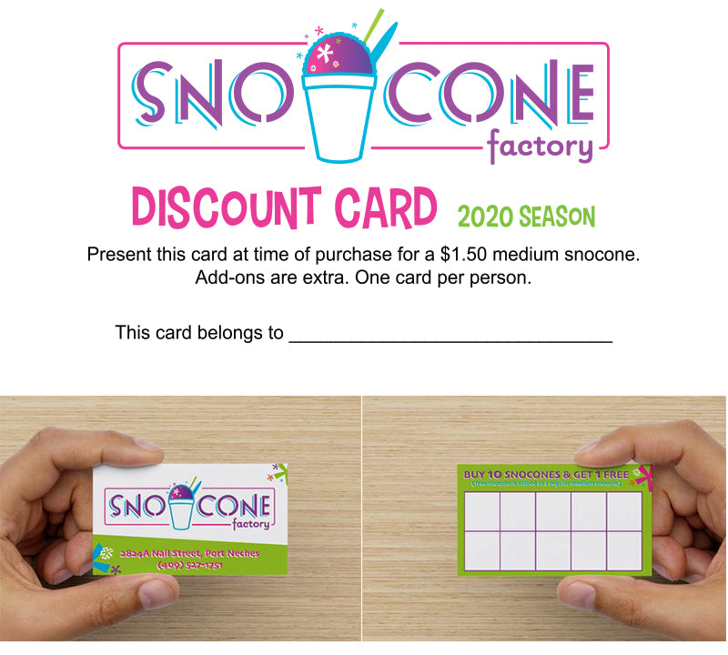 Snocone Factory Punch Card