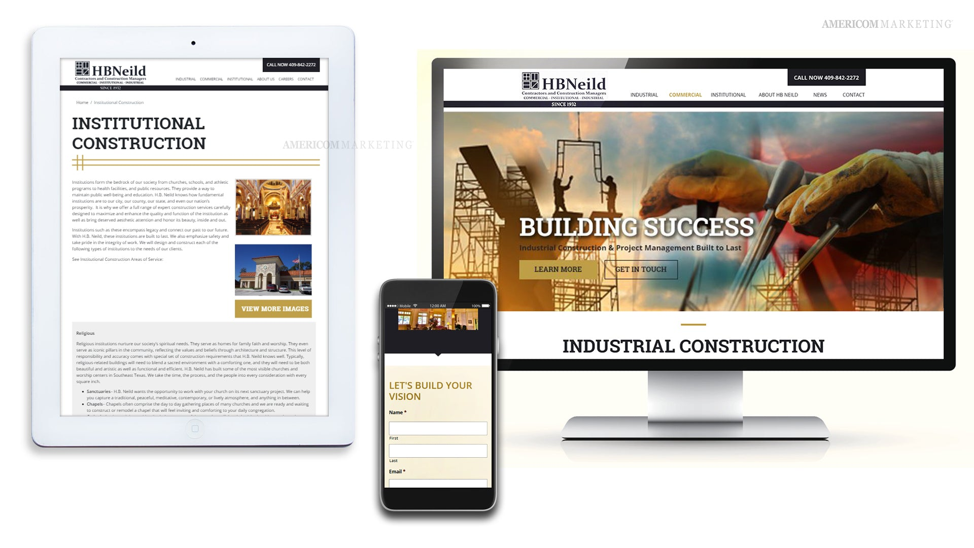 HB Nield Mobile Website Design View