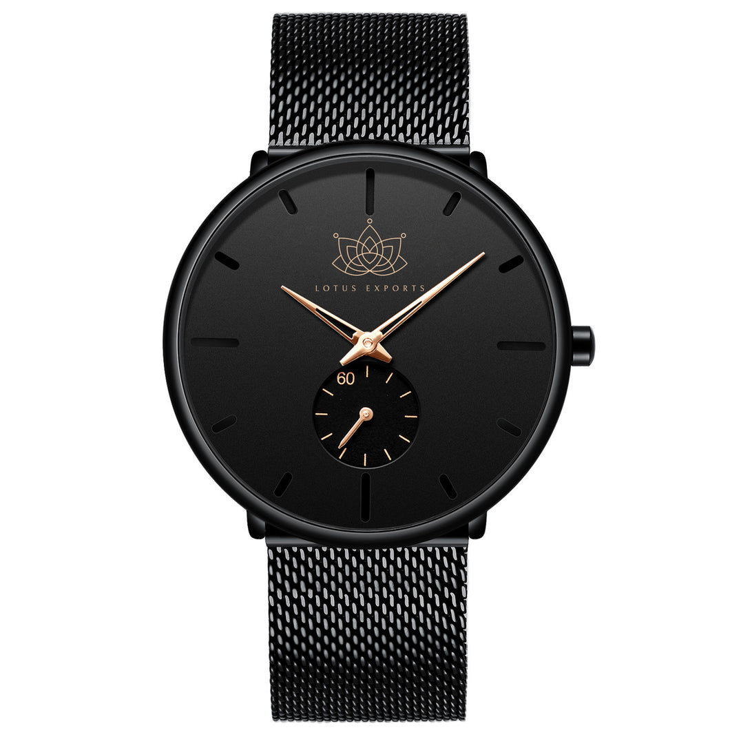 Black Stainless Steel Simple Watch
