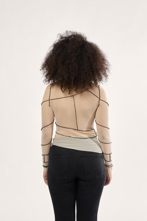 SPIRAL TOP / TULLE KNIT / BEIGE