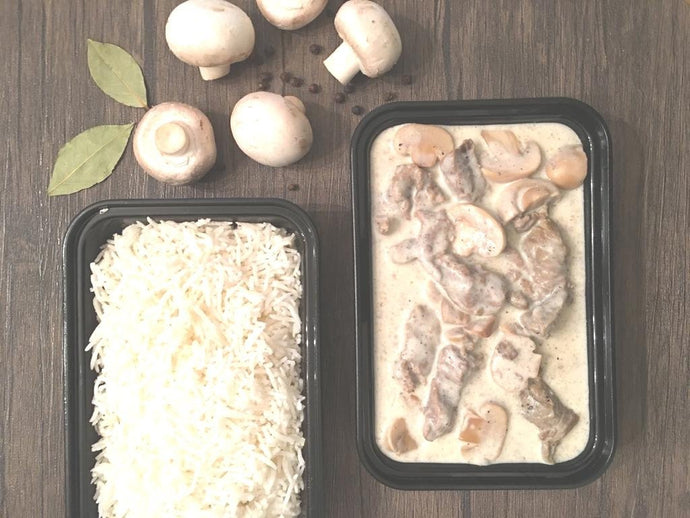 Filet Mignon Beef Stroganoff with Basmati Rice