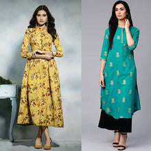 Load image into Gallery viewer, Packs Of 2 Trendy Printed Rayon Kurtis