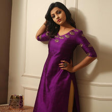 Load image into Gallery viewer, Purple Color Embroidered Dress