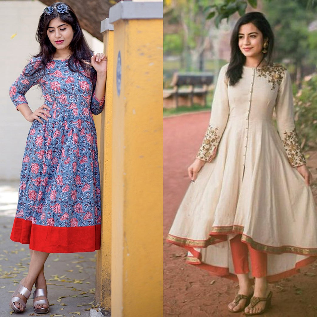 Pack Of 2 Designer Rayon Kurtis