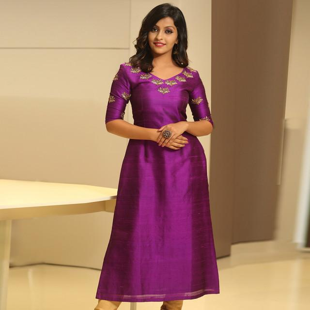 Purple Color Embroidered Dress