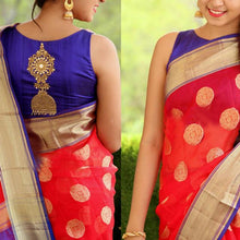 Load image into Gallery viewer, Party Wear Red & Blue Fancy Saree