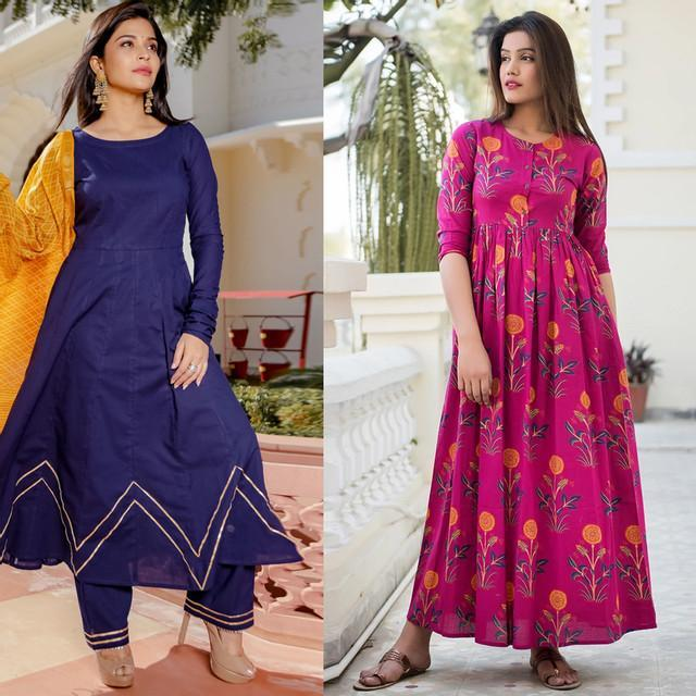 Combo Of 2 Designer Embroidered Long Dresses